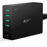 AUKEY Amp USB Wall Charger 60W con AiPower, Quick Charge 3.0 y Dual USB C & 4 USB Ports