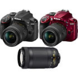 Nikon D3400 24MP DSLR Camera 18-55 VR & 70-300mm Dual Lens Bundle + Nikon Case