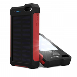 iClever IC-SB21R 10000mAh Portable Solar Power Bank Dual USB Port Charger Battery with Led Light