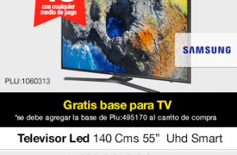 TV Samsung UN55MU6103 55″ UHD Smart gratis base para TV