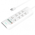 AUKEY Power Strip 6-Port 43W/8A USB Charger with 8 Outlets & Quick Charge 3.0 USB Port
