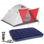 KIT Camping: Carpa + colchon inflable + inflador de pie