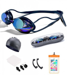 5 in 1 UPDATE Mirrored Prescription Training Swimming Goggles Set