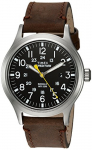 Timex Men's Expedition Scout Black/Brown Leather Strap Watch
